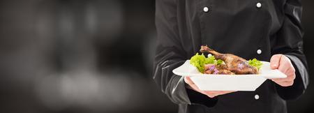 Le chef garde parfait dîner à base. image - chef cuisine restaurant de plat de nourriture dînez plaque de fond servent hôtel garnier gourmet toile de fond moléculaire préparer concept culinaire
