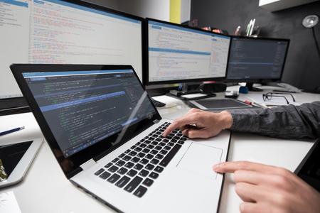 Het ontwikkelen van programmering en codering technologieën. Website ontwerp. Cyber ruimte concept. Stockfoto