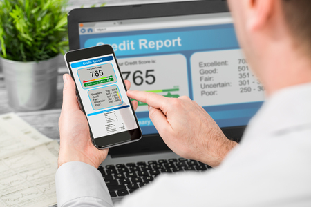 borrowing: report credit score banking borrowing application risk form document loan business market policy deployment data check workplace concept - stock image