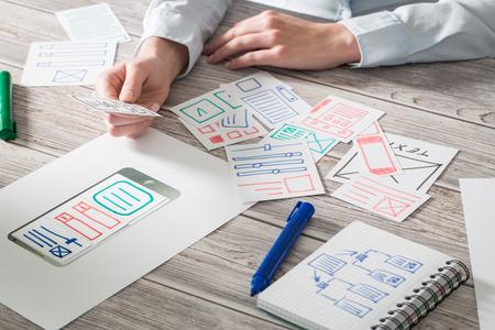 ux designer designing designers web brand phone smartphone layout geek business prototype internet goals sketch plan write idea success solution concept - stock image Reklamní fotografie - 79147385