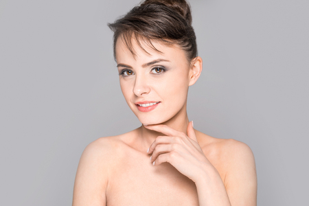 Portrait of a young, beautiful and smiling young woman. Wonderful smile on your face. Banque d'images