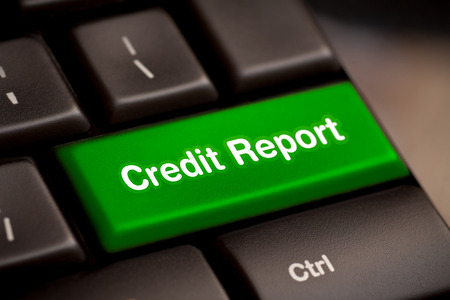 credit report free access loan check score good debt form document display concept - stock image Banque d'images