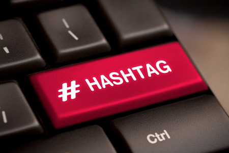 hashtag blogging blog content media social laptop keyboard key keypad business category concept - stock image Imagens