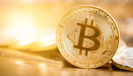 Bitcoin gouden muntstuk. Stockfoto