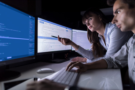 Developing programming and coding technologies. Website design. Cyber space concept. Stock Photo - 82755497