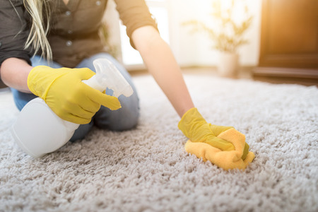 Housewife cleaning carpet with brush and doing housework.