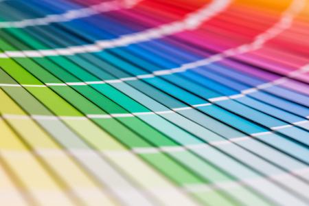 色見本帳。虹のサンプル色カタログ。 写真素材