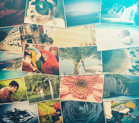 mosaïque image photos de différents lieux et paysages avec, tirer par moi-même, les instantanés téléchargés sur les services de réseaux sociaux