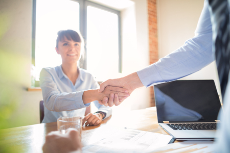 Business people shaking hands, finishing up meeting. Successful businessmen handshaking after good deal. Stock Photo