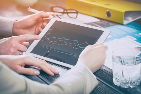 meeting leadership marketing diagram training planning tablet team - stock image