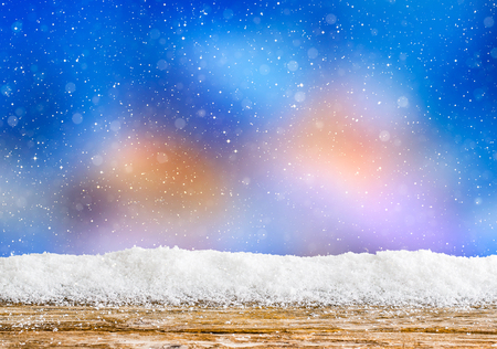 snow winter background wooden evening night light abstract wintertime snowfall cold snowy table icy white cloud wintry countryside scenes snowdrift morning floor calm spotlight concept - stock image Stock Photo