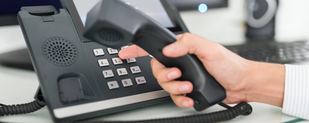 Communication support, call center and customer service help desk. Using a telephone keypad. Stock fotó - 89618887