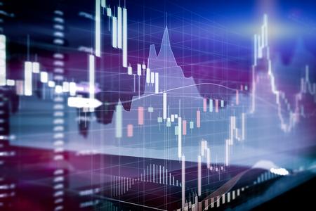 캔들 스틱 그래프 및 주식 시장 투자 거래의 막대 차트. 분석 컴퓨터 화면에 외환 가격 표시입니다. 스톡 콘텐츠
