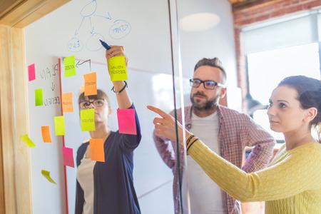 Executivos que encontram-se no escritório e usam notas de post-it para compartilhar a ideia. Conceito de brainstorming. Nota pegajosa na parede de vidro.