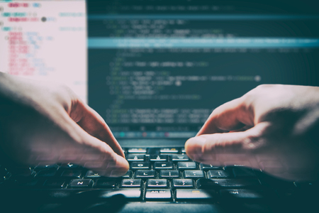 coding code program programming compute coder work write software hacker develop man concept - stock image Stock Photo