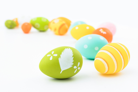 Beautiful colorful Easter eggs. Easter concept isolated on white background.