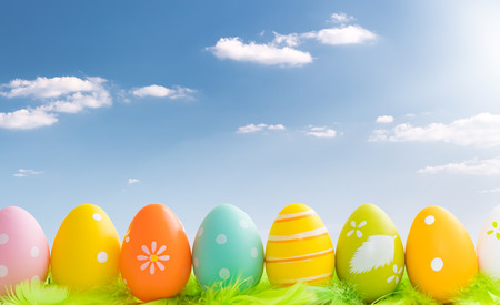 Easter concept. Green feathers, easter eggs and web banner background on a sunny day.  Stock Photo