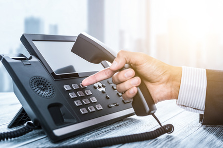Communication support, call center and customer service help desk. Using a telephone keypad. Banco de Imagens - 106058456