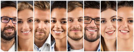 Kolaż portretów zróżnicowanych etnicznie młodych ludzi biznesu.