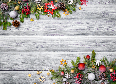 Christmas festive decoration on wooden background with copy space for your text. Stock fotó