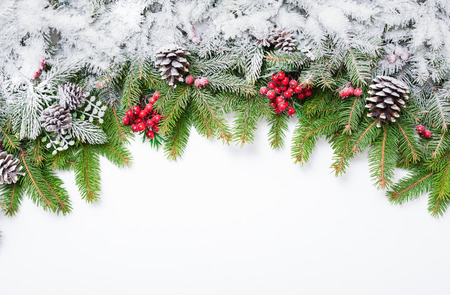 Christmas festive decoration and snow on white background with copy space for your text. Stock Photo
