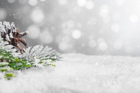 nieve, plano de fondo, primer plano, decoración, blanco, navidad, espacio, copos de nieve, rama, horizontal, espacio de copia, nadie, navidad, pino, brillo, tarjeta, vacaciones, concepto Foto de archivo