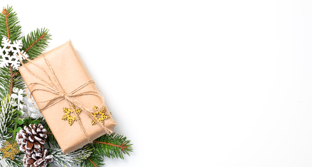 Christmas Card: Xmas or New Year with decorations and gift boxes isolated on white background.