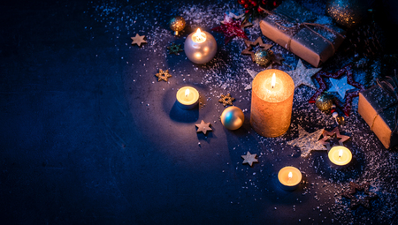 Christmas Card with festive decoration. Copy space for your text. Stock Photo