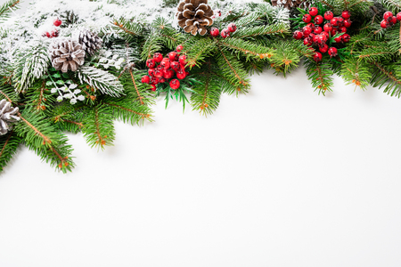 Christmas festive decoration and snow on white background with copy space for your text. Stok Fotoğraf