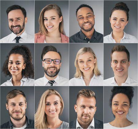 Collage de retratos de jóvenes empresarios étnicamente diversos. Foto de archivo