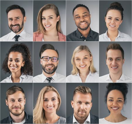Collage of portraits of an ethnically diverse young business people.