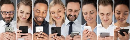 Business people use cell phones. The concept of new technologies. Stock Photo