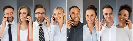 Business people use cell phones. The concept of new technologies. Stok Fotoğraf