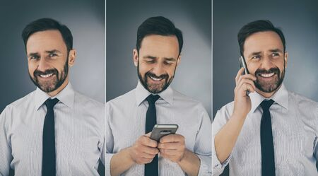 A smiling person uses a mobile phone. Photo collage. Joy and happy of new technologies. Stock Photo