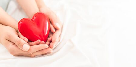 An adult, mother and child hold a red heart in their hands. Concept for charity, health insurance, love, international cardiology day.