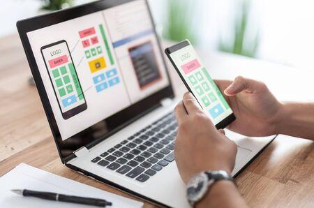 Designers drawing website ux app development. User experience concept. Stock Photo