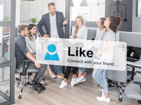 Like and share social media. Virtual cloud shows adding new friends. Stockfoto