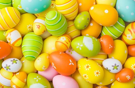 Beautiful colorful Easter eggs. Easter concept background. Stock Photo