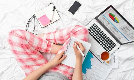 Working home concept. Young people online work mobile devices. Social media influencer.