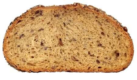 Slice of fresh wholemeal bread. Detailed bread texture
