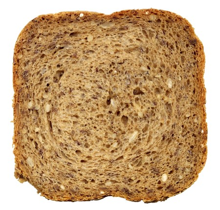 Square slice of fresh wholemeal bread. Detailed bread texture Stock Photo