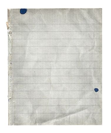 Old dirty notepad with torn edge and ink stains
