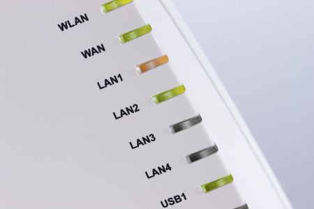 Closeup of router LED lights showing connection status.