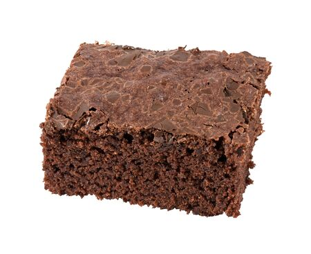Single chocolate brownie Stock Photo