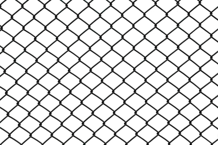 Black chain link fence isolated on white background