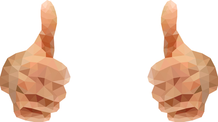 closeup: Thumbs up abstract polygon style on white background Illustration