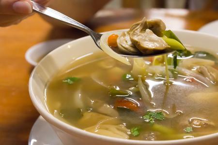 tom': Thai food tom yum mushroom close up Stock Photo