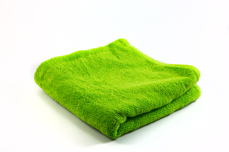 handkerchief: Green towel handkerchief isolated on white background closeup