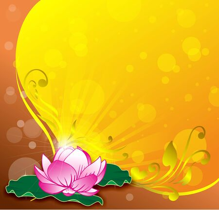Pink lotus vector gold background Illustration