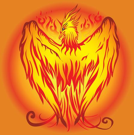 mythical phoenix bird: Pheonix Vector floral